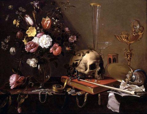 800px-adriaen_van_utrecht-_vanitas_-_still_life_with_bouquet_and_skull